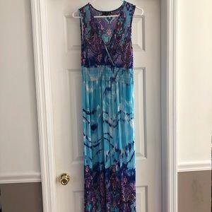 Mlle Gabrielle Blue Maxi Dress Sleeveless Size M